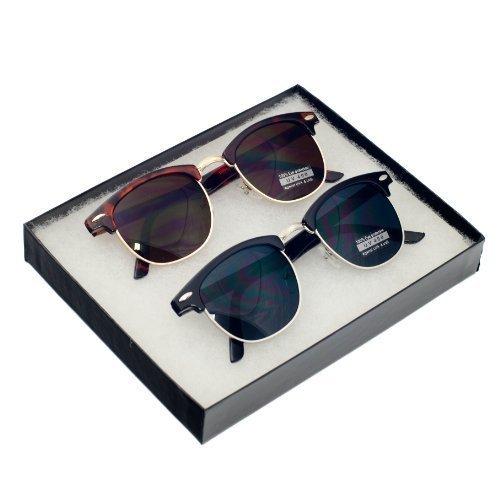 MJ EYEWEAR Vintage Inspired Classic Half Frame Horned Rim Retro Classic Sunglasses (Vintage Set - (Tortoise Gold/Black (Classic Eyewear)