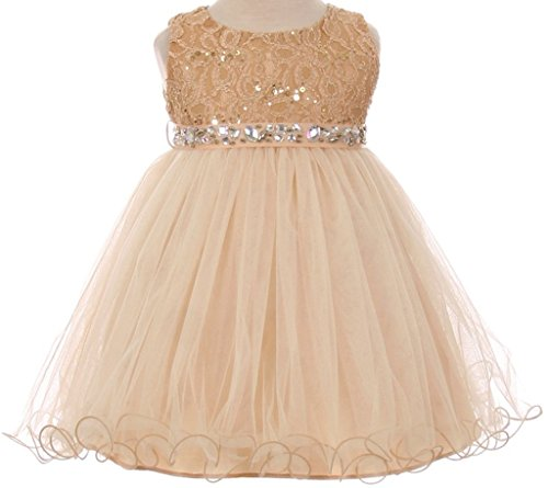 BNY Corner Baby Flower Girl Dress Lace Bodice Crystal Tulle Bottom Champagne S MBK 340B
