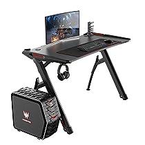Soges Gaming Table Desk Computer Desk Black/Red Walnut