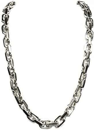 10k Solid White Gold Handmade Link Men's chain/Necklace 24