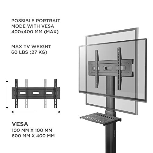 """ONKRON Mobile TV Stand with Mount Rolling TV Cart for 32"""" – 55"""" LCD LED Flat Screen TV with Wheels Shelves Height Adjustable TV Trolley (TS2551) by ONKRON (Image #2)"""