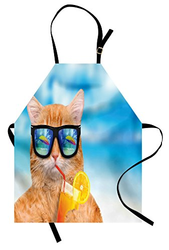 Lunarable Funny Apron, Cat Wearing Sunglasses Relaxing Cocktail in the Sea Background Summer Kitty Image, Unisex Kitchen Bib Apron with Adjustable Neck for Cooking Baking Gardening, Blue (Ginger Cat Costumes)