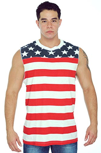 Confederate Flag Halloween Costume (Men's USA Flag Tank Top Proud To Be An American Sleeveless Shirt: MEDIUM)