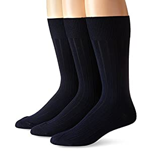 Calvin Klein Men's 3 Pack Cotton Rich Dress Rib Socks, Navy, Sock Size: 10-13/Shoe Size:9-11