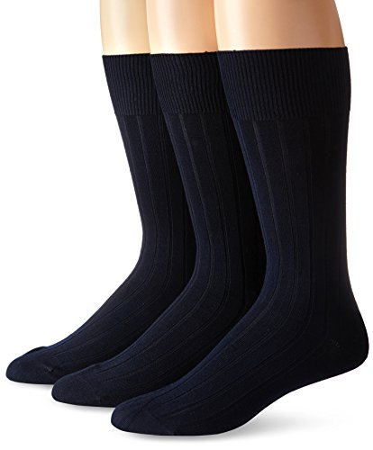 Navy Cotton Socks - Calvin Klein Men's 3 Pack Cotton Rich Dress Rib Socks, Navy, Sock Size: 10-13/Shoe Size:9-11