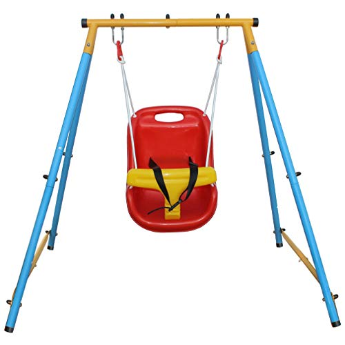 KLB Sport Baby Toddler Indoor/Outdoor Metal Swing Set with Safety Seat