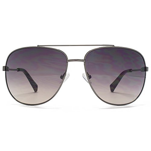 SUUNA Bali lunettes de soleil aviateur en Shiny Gunmetal SUU096 Brown  Gradient 6d7e00474247