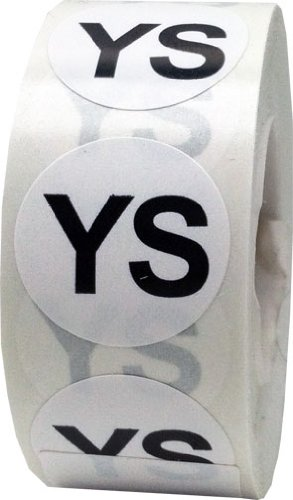 White Round Clothing Size Stickers YS - Youth Small Adhesive Labels for Apparel Retail - 500 Total