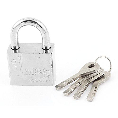 Silver Padlock - uxcell 40mm Width Silver Tone Metal Shackle 4 Keys Security Padlock
