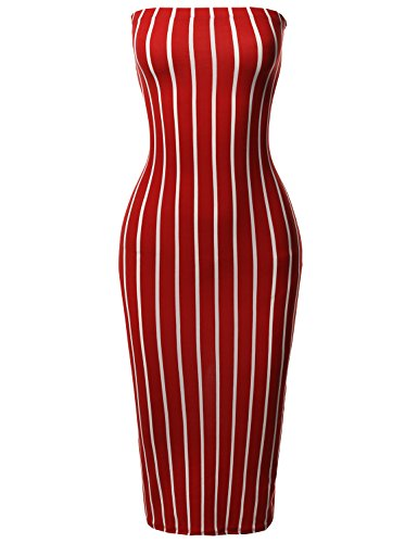 Made by Emma Pinstripe Print Body-Con Tube Midi Dress Rust - Body Made