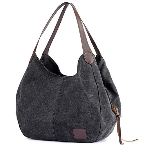 DOURR Women's Multi-pocket Shoulder Bag Fashion Cotton Canvas Handbag Tote Purse (Black) ()