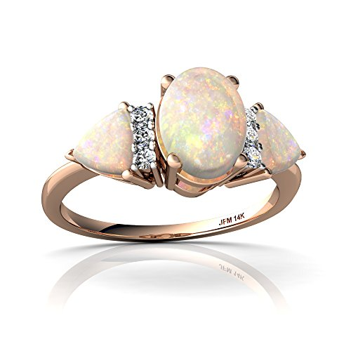 14kt Rose Gold Opal and Diamond 7x5mm Oval Antique Style Three Stone Ring - Size 9 by Jewels For Me