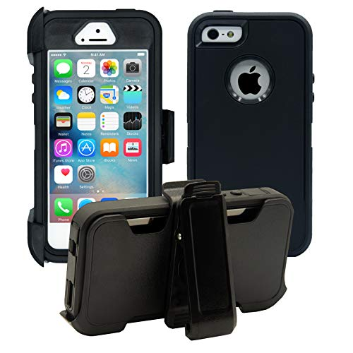 AlphaCell Cover Compatible with iPhone 5 / 5S / SE | 2-in-1 Screen Protector & Holster Case | Full Body Military Grade Protection with Carrying Belt Clip | Protective Drop-Proof Shock-Proof (Best Iphone 5 Case With Clip)
