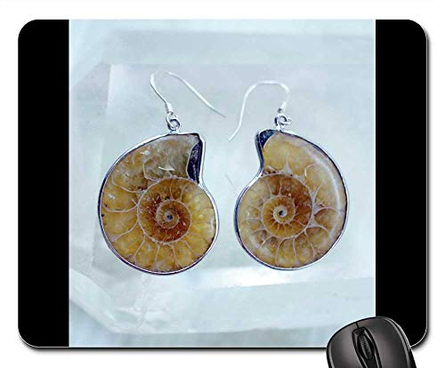 Mouse Pad - Ammonite Earrings Sea Fossil Snail Shells -