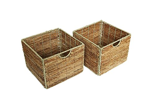 "Trademark Innovations 12.7"" Foldable Seagrass and Banana Leaf Storage Basket with Iron Wire Frame - The basket measures 12.7""L x 12.7""W x 10""H Made from beautiful seagrass and banana leaf over an iron wire frame. Color may vary slightly Folds flat for easy storage - living-room-decor, living-room, baskets-storage - 41AczMvzZQL -"