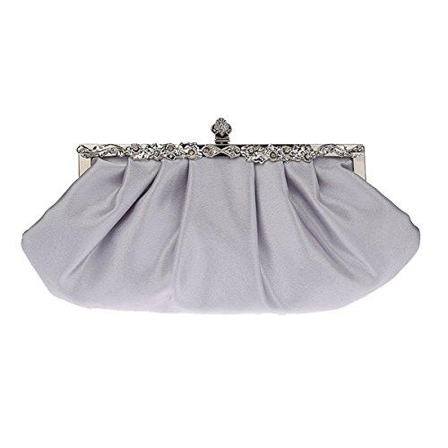 à Argent sac femme main la de mariage en Dame pochette violet fête sac sac satin Flada simple pour x6qwTcfHxE