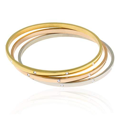 Edforce Stainless Steel Women's Stackable Set of 3 CZ Cubic Zirconia Bangles Bracelets (Tri-Color, 8.5