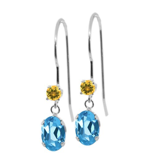Gem Stone King 1.24 Ct Oval Swiss Blue Topaz Yellow Simulated Citrine 14K White Gold Earrings