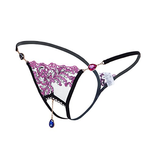 GIRLADY Open Crotch G String Panties For Women Sheer Lace Thong Embroidery Intimates Rhinestone Pendants Brief Sexy Underwear (Black/Rose) (Sheer G-string)