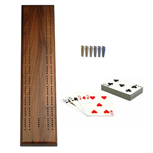 Walnut Cribbage Board - WE Games Deluxe Competition Cribbage Set - Solid Walnut Wood Sprint 2 Track Board with Easy Grip Pegs, Deck of Cards & Canvas Storage Bag