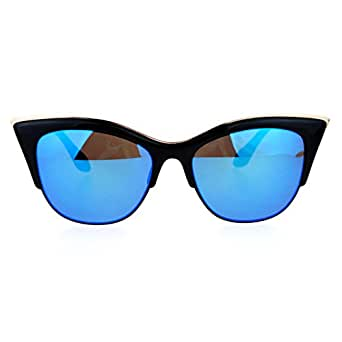 SA106 Womens High Point Squared Half Rim Look Cat Eye Sunglasses Black Blue