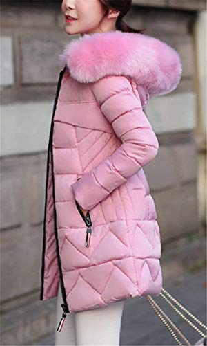 Rosa Laterali Manica Piumini Colori Pelliccia Invernali Costume Huixin Cappuccio Solidi Transizione Donna Tasche Giacca Coat Lunga Caldo Con Cerniera Di Casual Collo Cappotto xwBqvx8