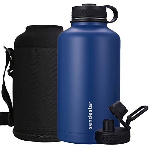 Sendestar 64 oz Beer Growler Double Wall Vacuum Insulated Leak Proof Stainless Steel Water Bottle —Wide Mouth with Flat Cap & Spout Lid Includes Water Bottle Pouch (Cobalt) by Sendestar