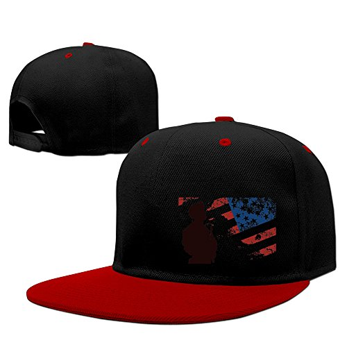USA Flag Soliders Belief Hard Panel Snapback Hat Red ()