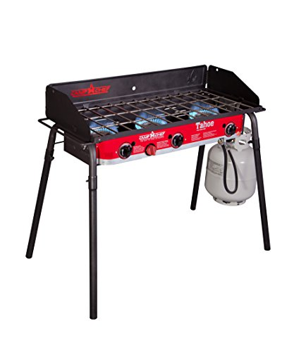 Chef Burner - Camp Chef TB90LW Tahoe Deluxe 3 Burner Grill Black/red