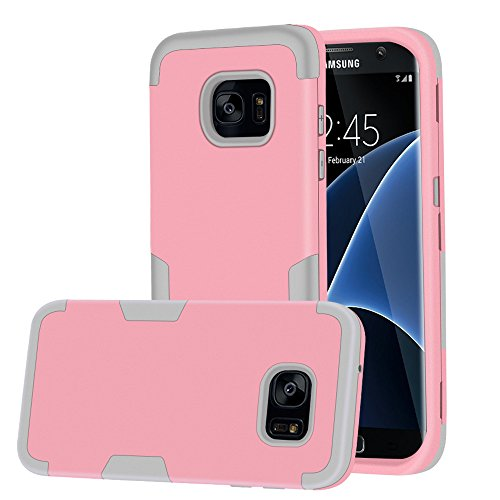 Galaxy S7 Edge Case, MCUK [Scratch Resistant] [Shock Absorption] 3 in 1 High Impact Hybrid Armor Defender Silicone Rubber Skin Hard Case Cover For Samsung Galaxy S7 Edge (Pink Grey)