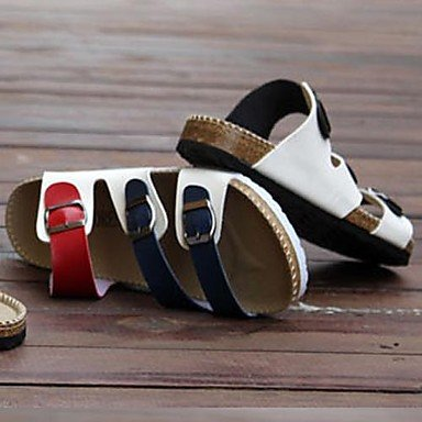 Zapatos de hombre casual sandalias de piel sintética negra/azul Blue