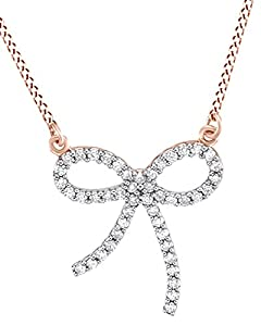 Round Cut White Natural Diamond Bow Pendant Necklce In 14k Rose Gold