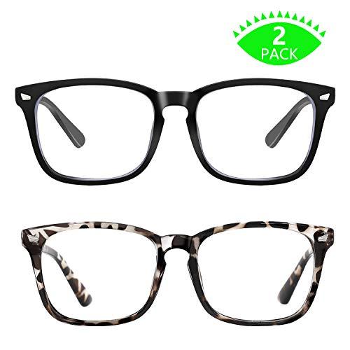 Blue Light Blocking Glasses, Anti Eye Strain Headache (Sleep Better),Computer Reading Glasses UV400 Transparent Lens (Black&Leopard)