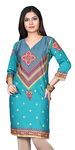 Indian Tunic Top Womens Kurti Printed Blouse India Clothing – Small, L 124