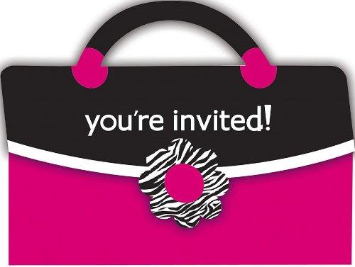8-count Purse-shaped invitations, Rose Zebra Boutique Creative Converting-Toys 890454