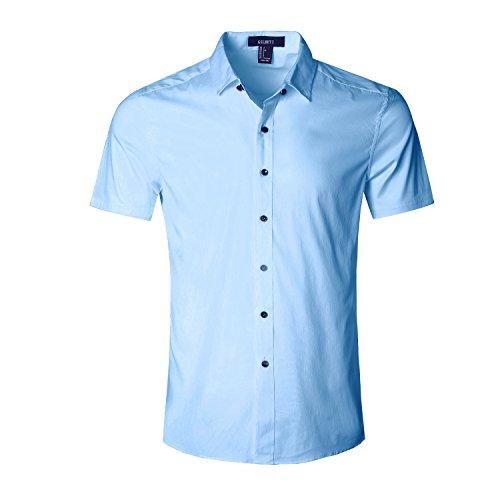 GILBETI Men's Slim Fit Solid Dress Shirts Button Down Cotton Short Sleeve Shirt Dark (Madras Plain Front Short)