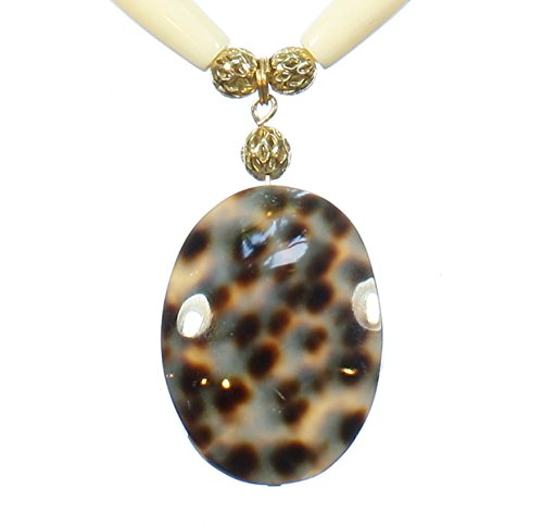 Style-ARThouse Watch the Leopard! Brown and Ivory Color Spotted Tiger Cowrie Shell Necklace, 23 Inches Adjustable