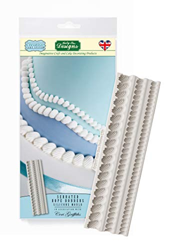 Serrated Rope Border Silicone Royal Icing Mold, Ceri Griffiths Creative Cake System for Decorating, Sugarpaste, Fondants, Candies and Crafts, Food Safe