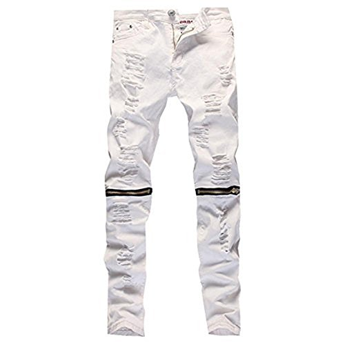 Leward Men's Ripped Skinny Distressed Destroyed Straight Fit Zipper Jeans with Holes No Belt (White, 34)
