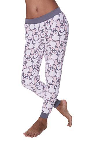 Sleep & Co. Womens Elastic Waist Cuffed Ankles Lounge Sleep Pajama Pants Fleece Light Pink ()