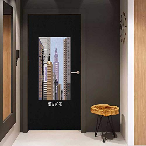 Onefzc Wood Door Sticker City Cartoon Style New York Abstract Urban Metropolitan Manhattan Illustration Modern Art Easy-to-Clean, Durable W32 x H80 Multicolor