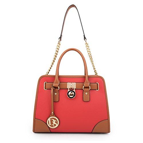 MMK collection Women Fashion Pad-lock Satchel handbags with wallet~Designer Purse for Women Handbag Set (6892w-Rd) -