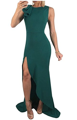 Jaycargogo Lungo Vestito Maniche Delle Sexy Donne Verde Del Partito Spacco OxwOrnqC1
