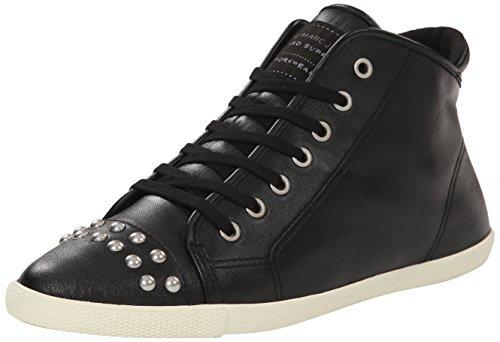 Marc by Marc Jacobs Women's Cara Studded Hi Top Lace Up Fashion Sneaker, Black, 39 EU/9 M US