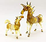 WitnyStore Twin Horse Cute Glass Hand Paint Animal Art Blowing Miniatures Gift Decor Fancy Figurine