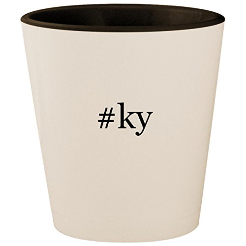 #ky - Hashtag White Outer & Black Inner Ceramic 1.5oz Shot Glass