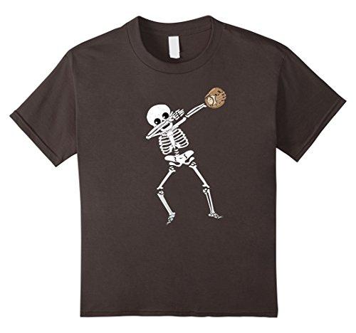 Kids Halloween Dabbing Skeleton Baseball T Shirt Funny Dab Dance 8 Asphalt