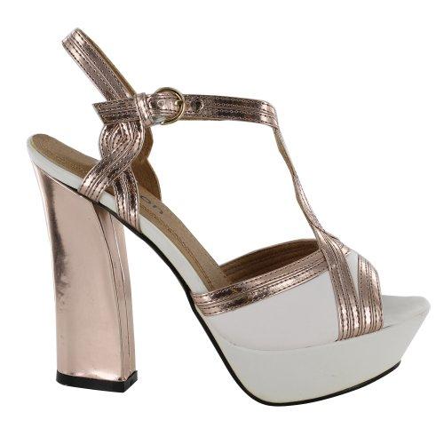Footwear Sensation - Zapatos de vestir de material sintético para mujer blanco - White Rose Gold