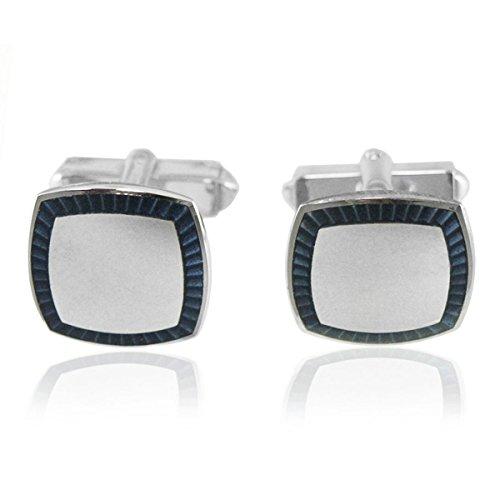 Designed by LBB London Sterling Silver Cushion Navy Blue Sunburst Cufflinks