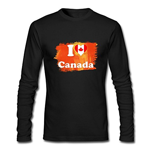 Men I LOVE CANADA Long Sleeve Athletic Cotton Round Neck - Canada Versace Clothing
